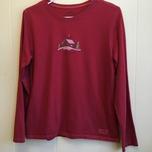 LIFE IS GOOD RED WINTER/CHRISTMAS SHIRT. SIZE SMAL